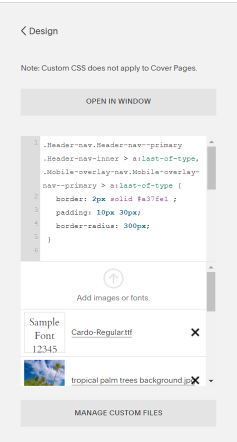 Upload your custom font to Squarespace with the CSS Editor.