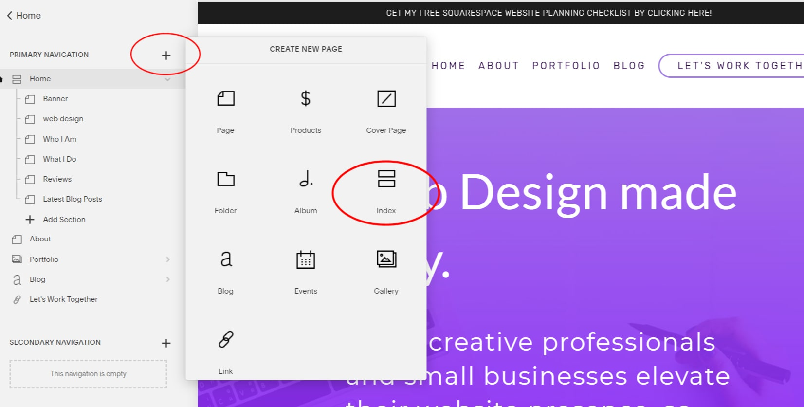 How to add an index blog page to your Squarespace website.