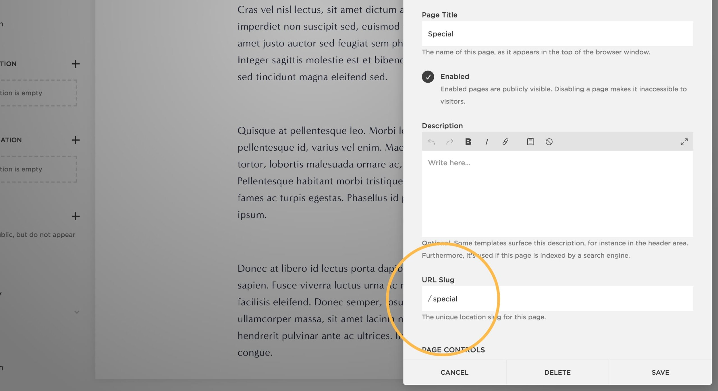 How to add an index page with anchor links in Squarespace.