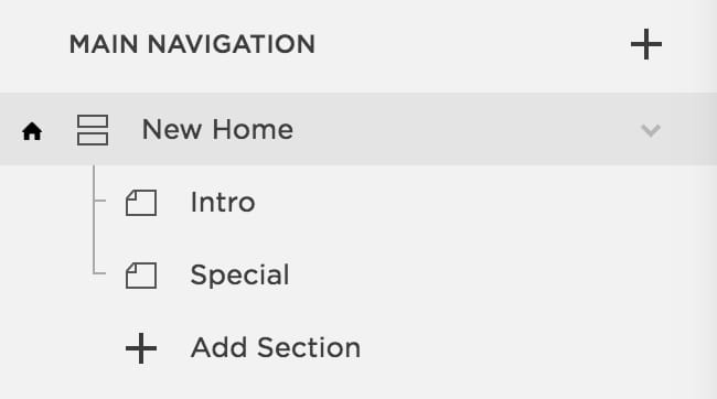 Name your index block and insert your sections below each other on Squarespace website.