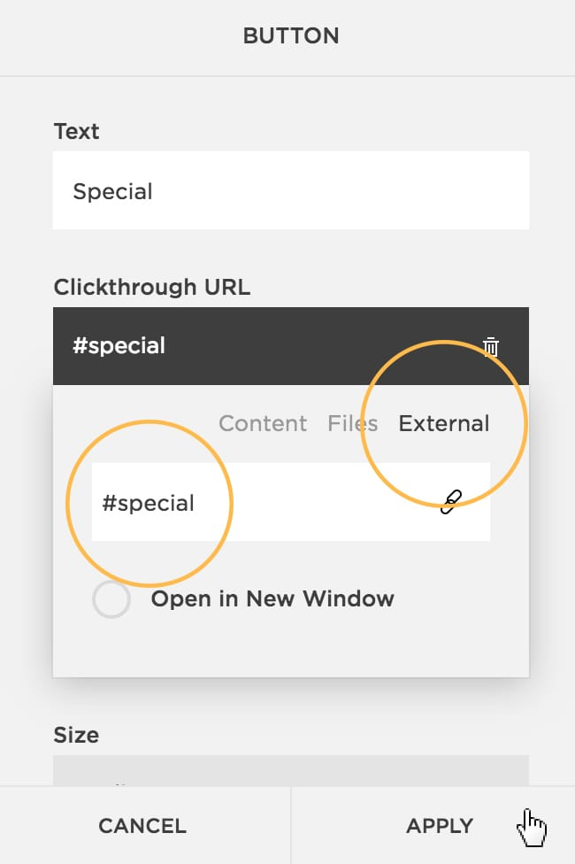 How to add a code to a button for an anchor link in Squarespace