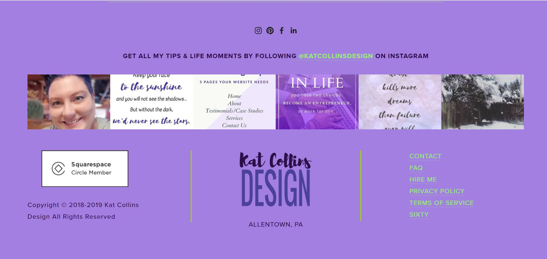 This is the website footer from my website, Kat Collins Design.