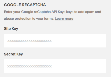 The External API Keys panel in Squarespace.
