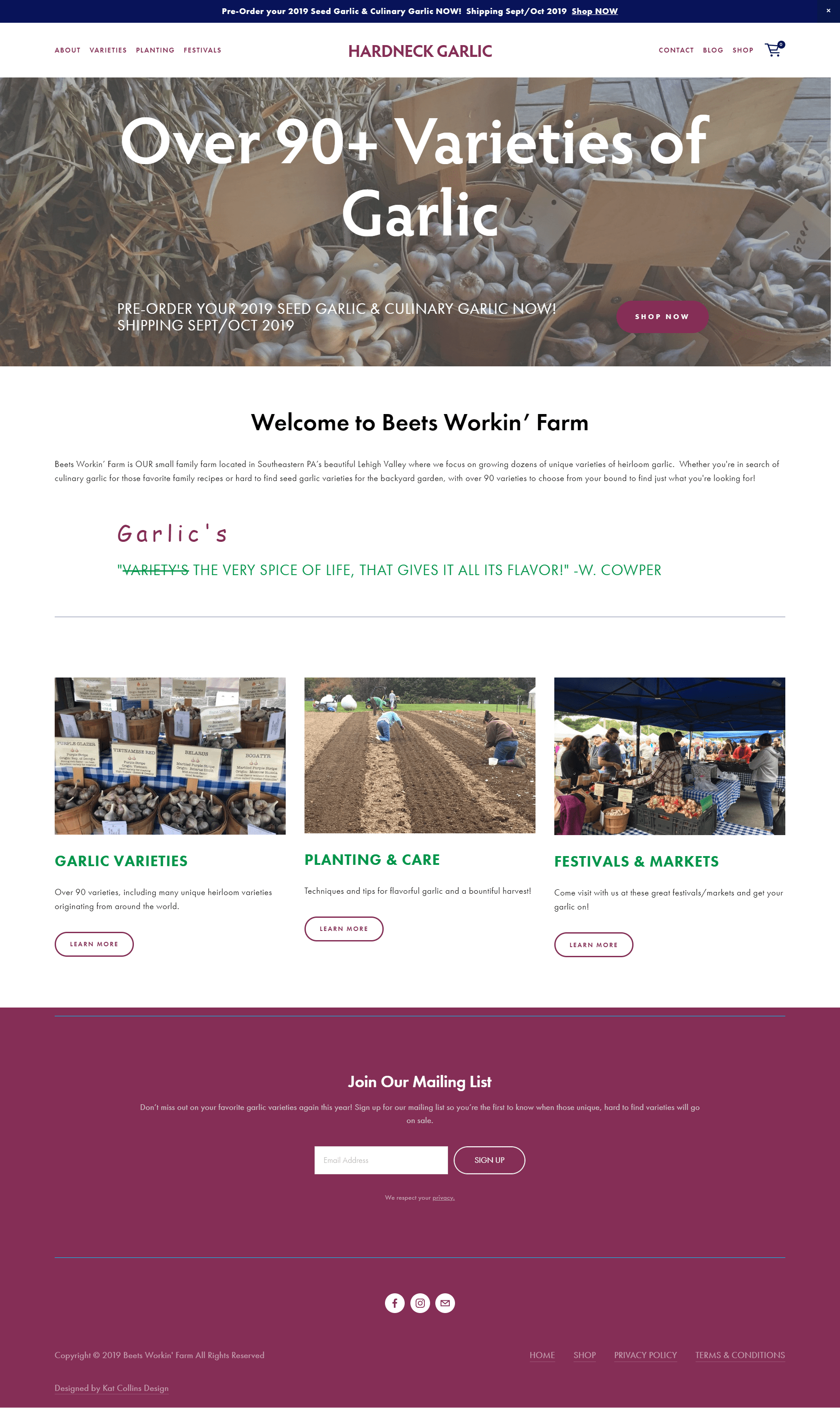 Hardneck Garlic Beets Workin Farm Website Design and eCommerce