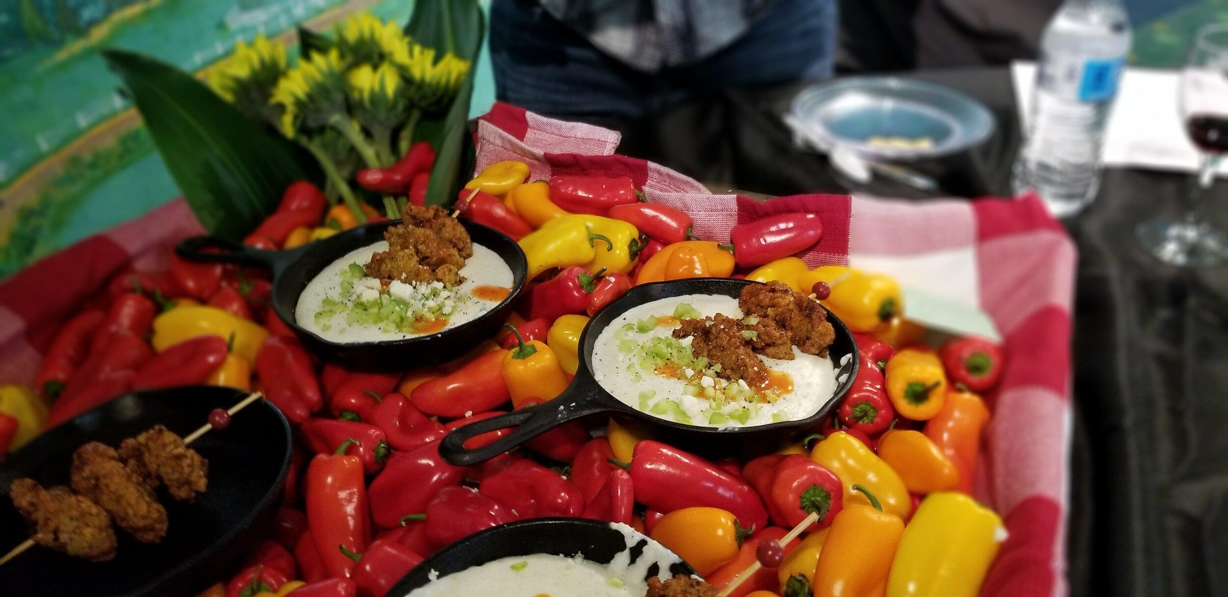 Marty's award winning dish -  Crispy Buffalo Maryland Oysters on Blue Cheese Grits