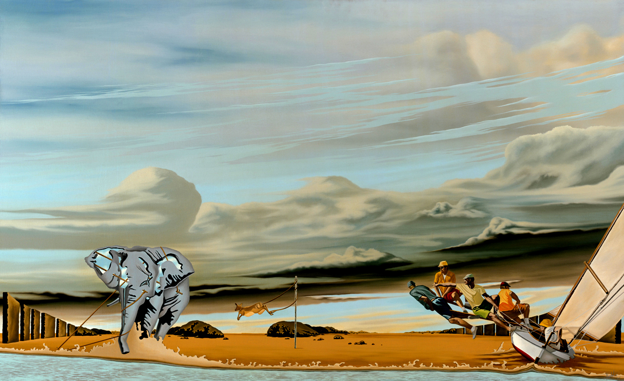 """5.    THE ILLUSION OF FREEDOM    1975, 53"""" x 33"""", Oil on Canvas - SOLD - Private Collection    An elephant restrained, a gazelle tethered to a pole and sailors catching the wind. In their own way, each has felt a sense of freedom but regardless of how hard they struggle or how fast they run, they will forever be nature's captive."""