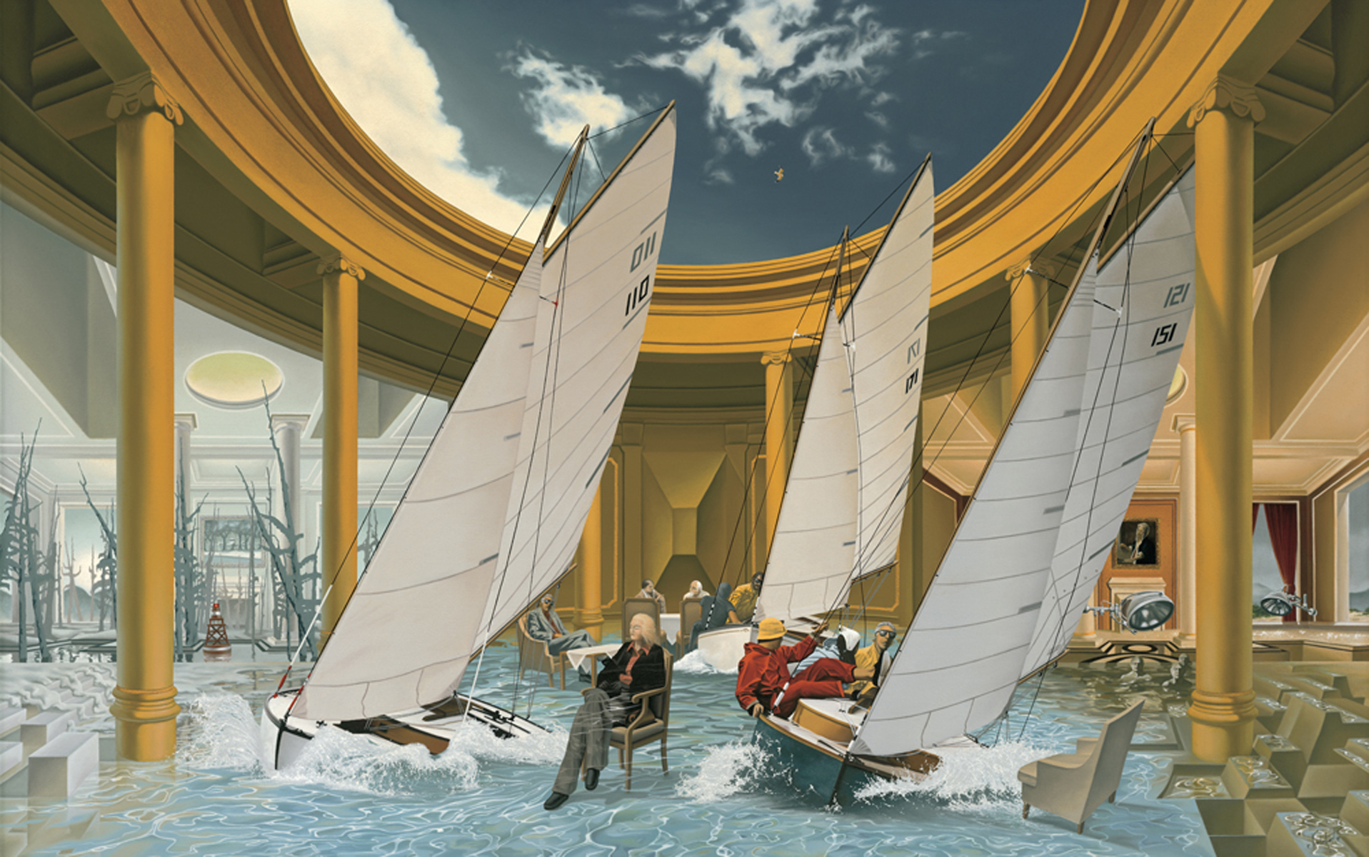 """6.    THE YACHT CLUB    1979, 56"""" x 36"""", Oil on Canvas - SOLD - Private Collection    In a columned room open to the sky, members of the Yacht Club close their eyes and daylight dreams of sailors race through their minds."""
