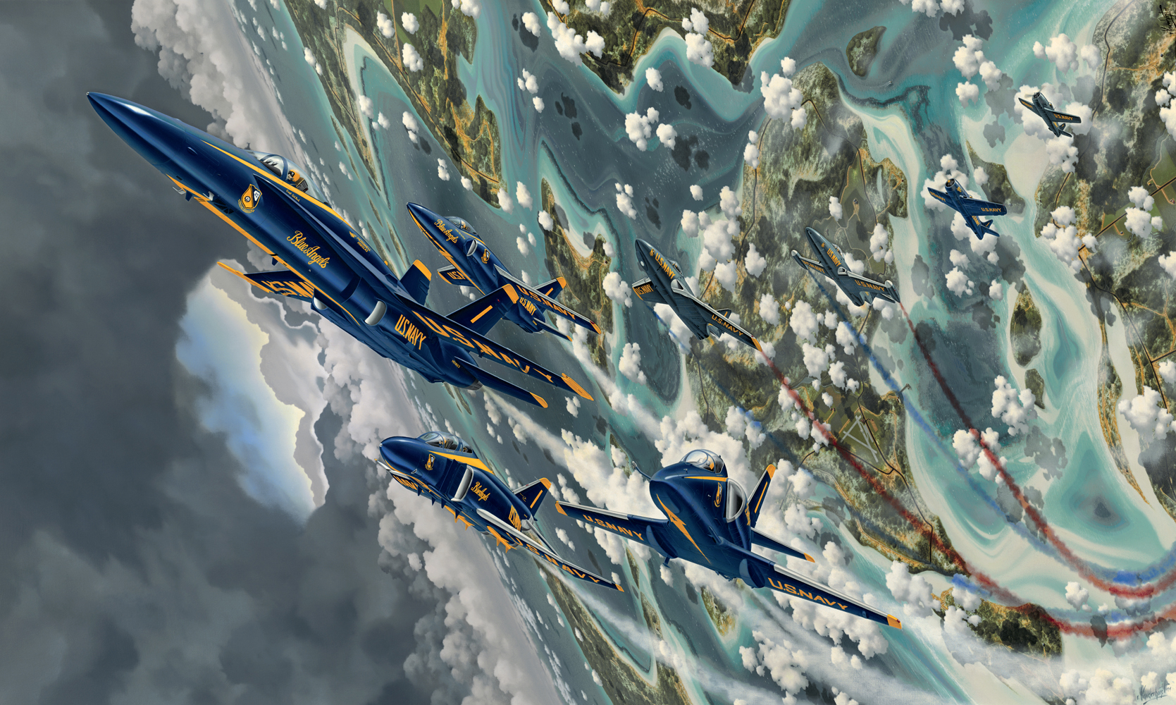 """12.    THE BLUE ANGELS    1995, 3' x 6', Oil on Canvas - Permanent art collection of the SMITHSONIAN AIR & SPACE MUSEUM, WASHINGTON, DC.    In 1995, with the assistance of Admiral Skip Furlong, former Vice President of the United States Naval Aviation Museum Foundation and Capt. Bob Rasmussen, former Director of the National Museum of Naval Aviation at NAS Pensacola, Florida, I created an oil painting celebrating the 50th. Anniversary of the Blue Angels. The painting depicts all eight of the aircraft used by the Blues since their inception in 1946. Cdr. Butch Voris originated the Blue Angels and flew the first F6F Hellcat for the team in 1946. He also named the new Navy flight demonstration team after a night club in New York City called """"The Blue Angel"""".After completion in 1995/96, the painting went on display in the Atrium of the United States National Museum of Naval Aviation at NAS Pensacola, Florida for 2 1/2 years.    The painting has been acquired by the Smithsonian Air & Space Museum in Washington DC."""