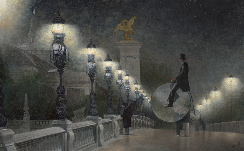 """8.    'MAGRITTE'S DARK ANGEL'    44"""" x 28"""", Oil on Canvas, 2015    A somber and pensive impressionist style Paris night scene inspired by Belgian Surrealist Rene Magritte's painting, 'Le Mal du Pays' ( Homesickness)  created in 1940. The painting features two dark angel like figures with raised wings standing on the Pont Alexander III bridge overlooking the River Seine. The bridge, illuminated with a line of ornate    Art Nouveau    iron gas lamps, reflects the exuberant    Beaux-Arts style    of the late 1900s.    Two travellers pause in the middle of the bridge huddled beneath an umbrella, perhaps reading a map. In front of the travellers a third individual, dressed in a black overcoat and hat, sits atop a penny-farthing style large wheeled bicycle. He's stopped and hovers a few feet above the pavement facing one of the angels. The scene in the interior space of the spokeless wheels appears slightly altered, evoking a lightness in atmosphere.    The cyclist is watching with curiosity and quiet anticipation as one of the dark angels reads a note from home.     """"Everything we see hides another thing; we always want to see what is hidden by what we see"""". Rene Magritte"""
