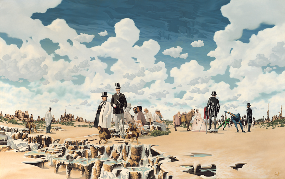 """25.    THE HUNT    1981, 53"""" x 33"""", Oil on Canvas - SOLD - Private Collection    Spectators casually watch the hunt begin. As skaters race through the sand pursued by archaic horsemen, handlers patiently wait to release the aristocracy."""