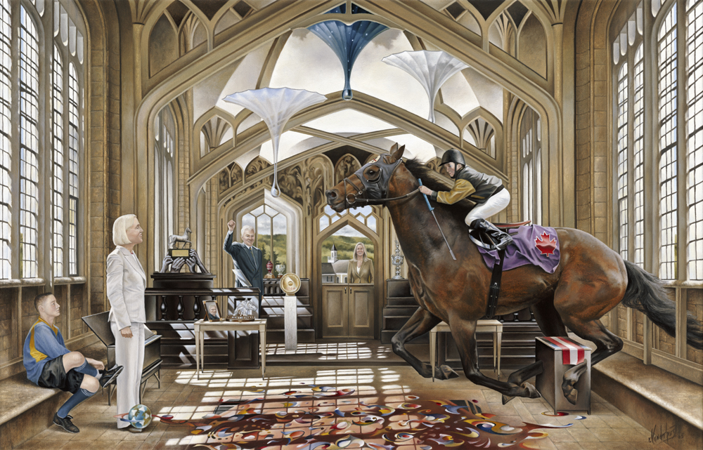 """23.    THE RACE    2005, 28"""" x 18"""", Oil on Canvas - SOLD - Private Collection    Unfettered by the structure surrounding him and driven by a singular purpose, a muscular thoroughbred thunders through a gothic interior scene reminiscent of the chapels and libraries of Oxford. His legacy is secure but his reality appears fluid as clouds in the ceiling change into dripping parasols and the carpet beneath his hoofs begins to float and transform into a galaxy of patterns. Surrounded by the trophies of past victories and with pride and admiration, family members watch intently as their courser rushes towards another victory and yet another race."""