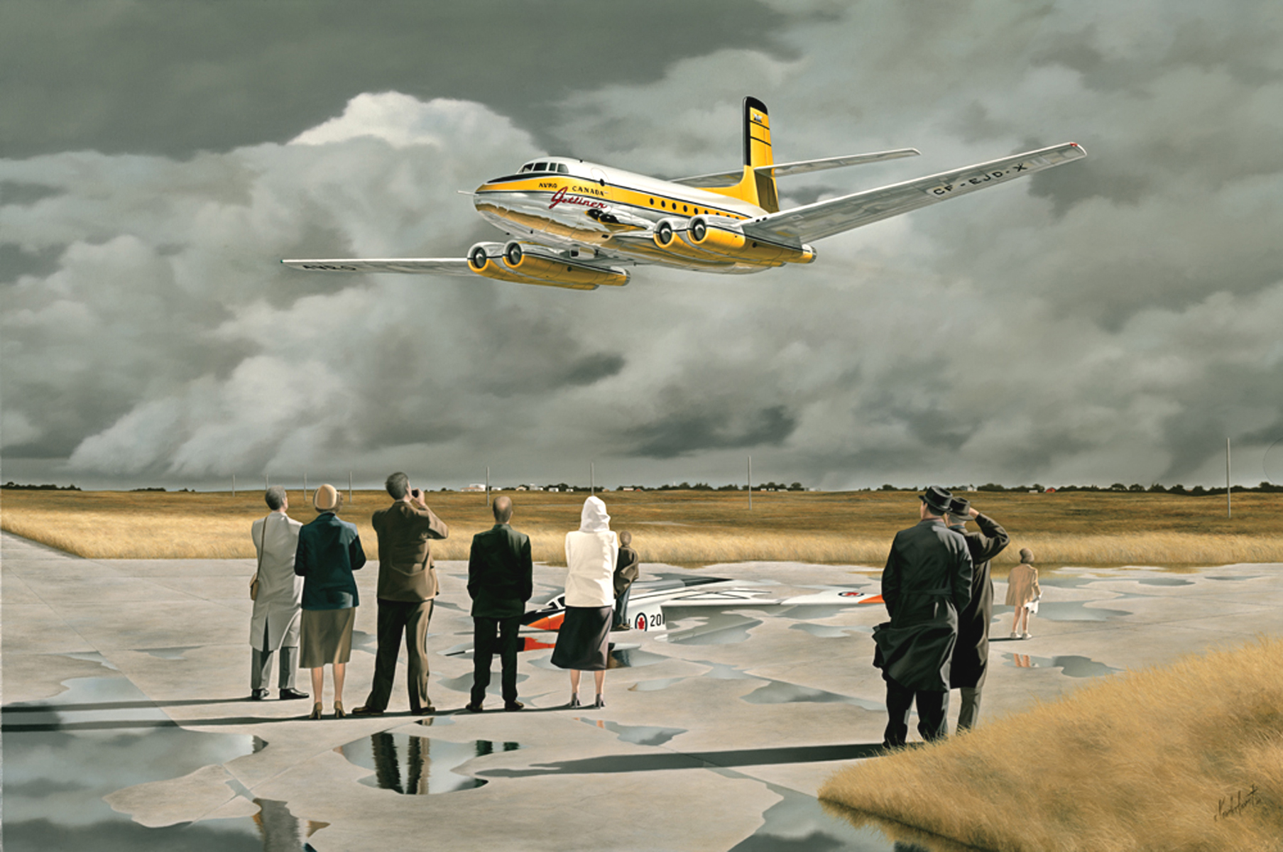 """14.    THE JETLINER - 2001, 34"""" x 24"""", Oil on Canvas - SOLD - Greater Toronto Airports Authority Permanent Art Collection.    This aircraft first flew Aug. 10, 1949 and reached speeds in excess of 500 mph. During the proving trials in 1950/51, the aircraft broke every passenger transport performance record on the books. The Jetliner was also the first jet transport to carry mail across the US. In 1952, National Airlines contracted Avro for a small fleet and Howard Hughes was so impressed with the aircraft that he wanted 30 aircraft for TWA. Unfortunately, the Canadian government ordered the Jetliner program halted and told Avro to tool up for the design and manufacture of the CF-100 jet fighter. Only one Jetliner was built and in 1956, the aircraft was broken up for scrap after seven years of faultless flying. This painting is also part of the story of aviation designer and engineer James Floyd. As VP and Director of Engineering for Avro Canada, Mr. Floyd was also responsible for    the Avro Arrow    . The reflection of Arrow 201 can be seen on the tarmac. After the Arrow was cancelled, Floyd took his team to England and conducted all the early feasibility studies for Hawker-Siddeley on the SST Concorde. The little girl in the painting is holding that future in her hand. Not unexpectedly, the Concorde bears a striking resemblance to the Arrow. The term """"Jetliner"""" was coined by its designer James C. Floyd."""
