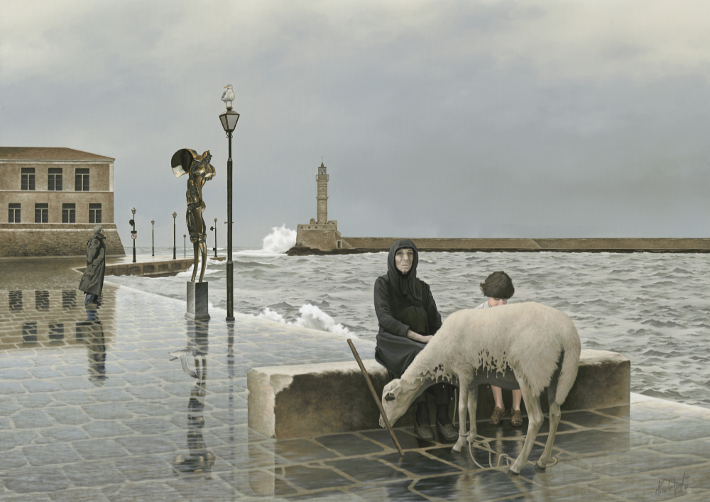 """32.    THE SENTINEL    2000, 28"""" x 20"""", Oil on Canvas - SOLD - Private Collection.    The scene takes place on a winter's day in the old port town of Chania, Crete. The bronze sentinel and the matriarch watch and stand guard. Not everything is obvious, witness the second seagull.    Where is the threat and from what direction should we be wary.    The painting was inspired by the sculpture The Sentinel by Paul Fairley and photographs of old Crete by Alison Smith."""