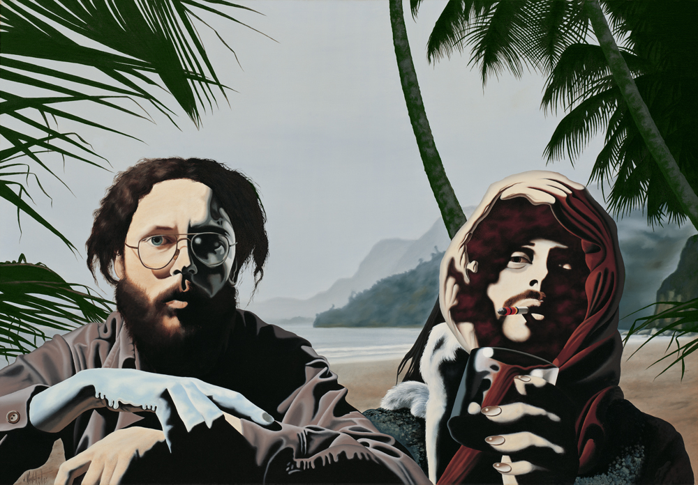 """2.     TWO ARTISTS - A COMPARATIVE STUDY    1975, 40"""" x 28"""", Oil on Canvas - SOLD - Private Collection    Dedicated to an old friend, artist and eccentric visionary, Phil Barber.    Maracas Beach, Trinidad    Phillip Barber 1944–1986"""