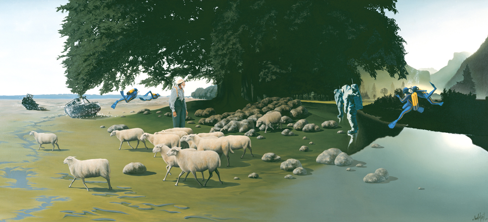 """3.    COUNTERVAIL    1977, 66"""" x 31"""", Oil on Canvas - SOLD - Private Collection    All is in opposition, yet a careful harmony exists in a place where space and time blend seamlessly. While the divers explore the improbable atmosphere around them, the shepherd and the spacemen casually take notice of each other while the sheep slowly metamorphose from their stone sleep."""