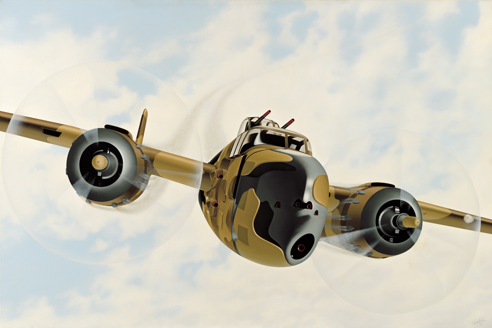 """38.    PUZZLED    1984, 54""""x 36"""", Oil on Canvas - SOLD - Private Collection.    The B-25 Vanderhorst trademark. A subtle and often hidden image of this aircraft appears in most of the surreal paintings done since 'Countervail' in 1977. The fuselage is part of a jigsaw puzzle. An underlying theme that continually runs though Vanderhorst's imagery."""