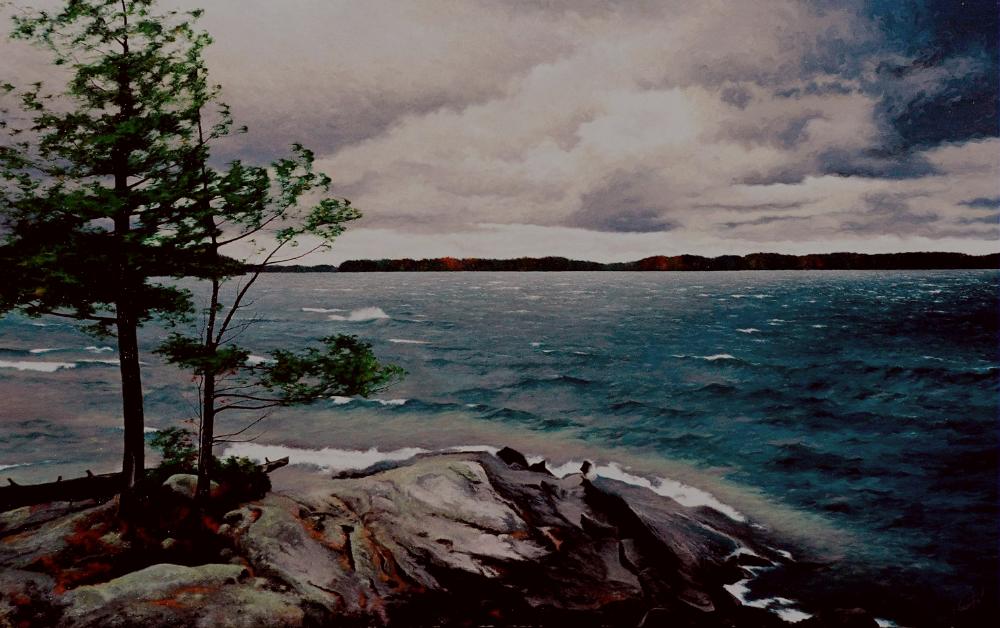 "44.    NOVEMBER STORM     44"" x 28"", Oil on Canvas - SOLD - Private Collection.    Lake Joseph, Muskoka, Ontario, Canada"