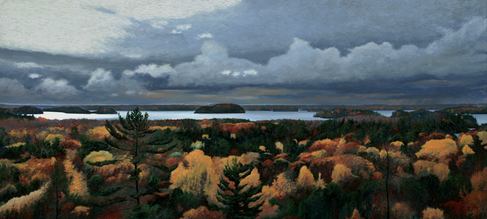 """45.    HIGH VIEW - Milford Bay, Lake Muskoka, Ontario, Canada    44"""" x 20"""", Oil on Canvas - SOLD - Private Collection."""