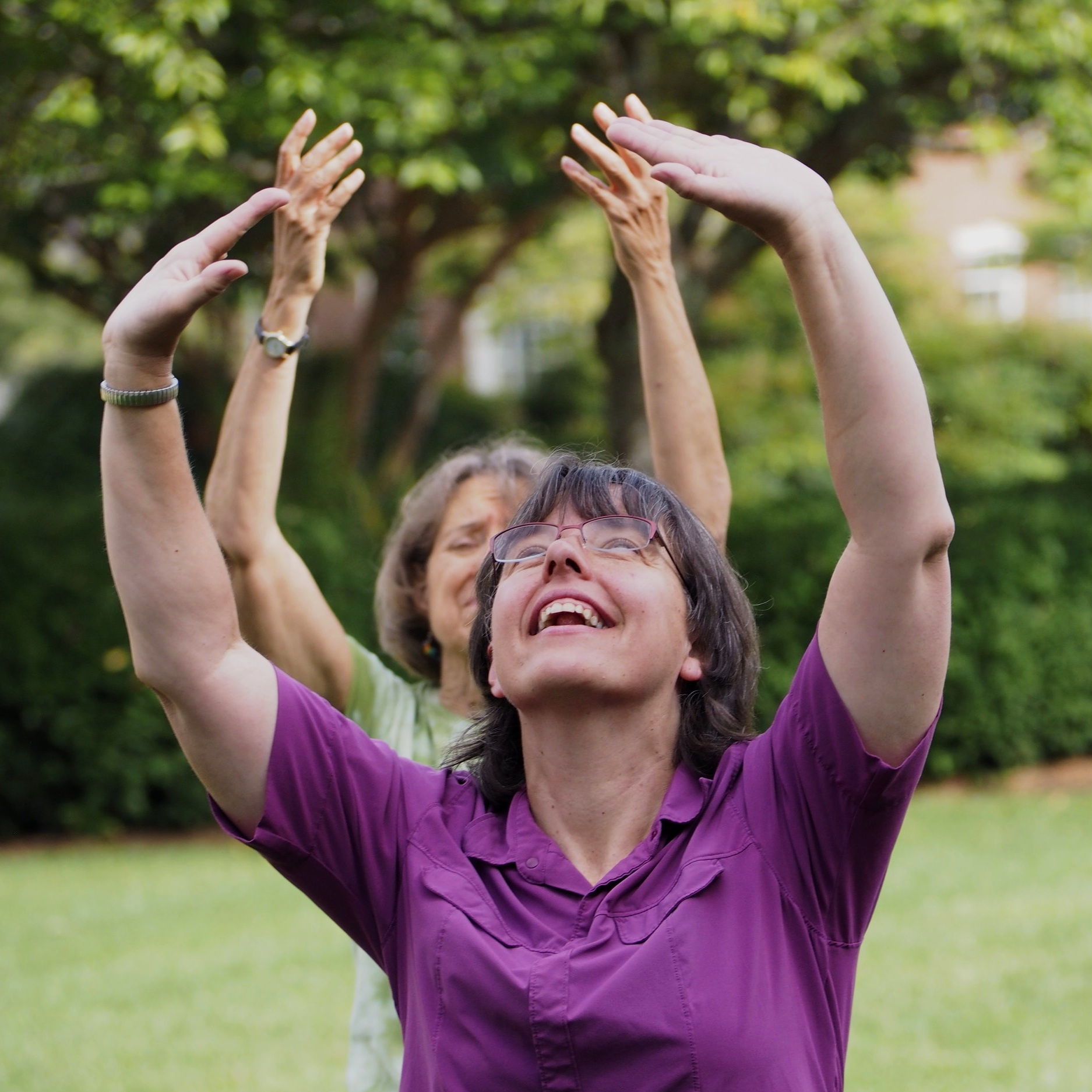 Two people doing Qigong poses with hands over their heads.