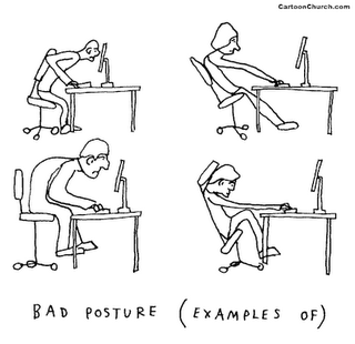 Cartoon drawing of poor sitting postures.