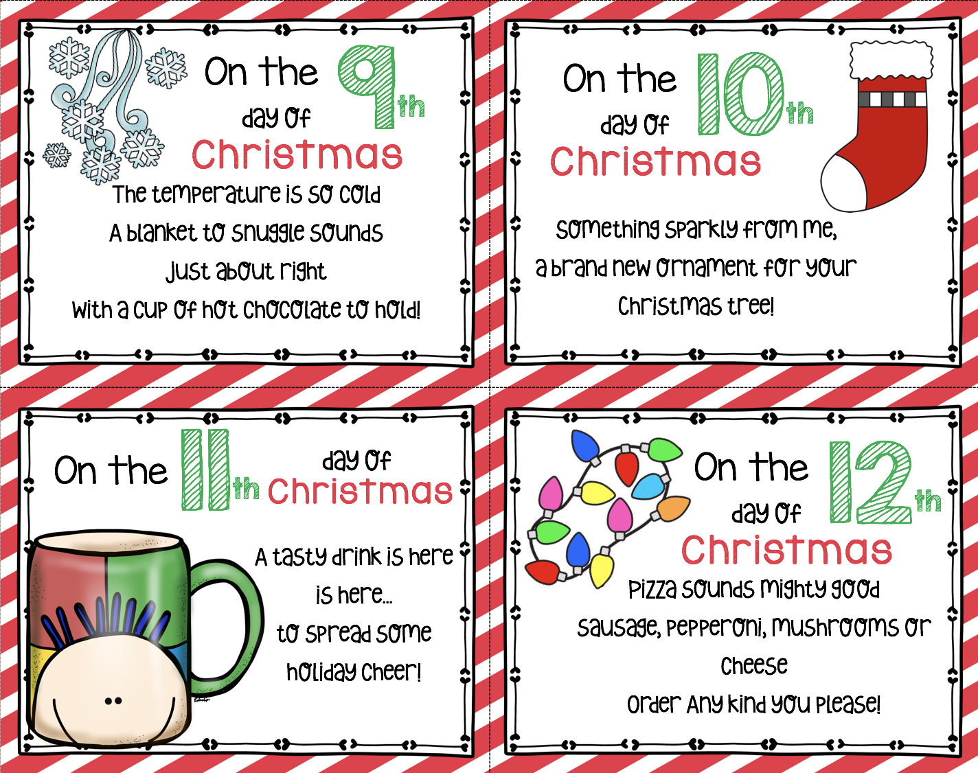 12 Days Of Christmas Free Cards Keeping My Kiddo Busy