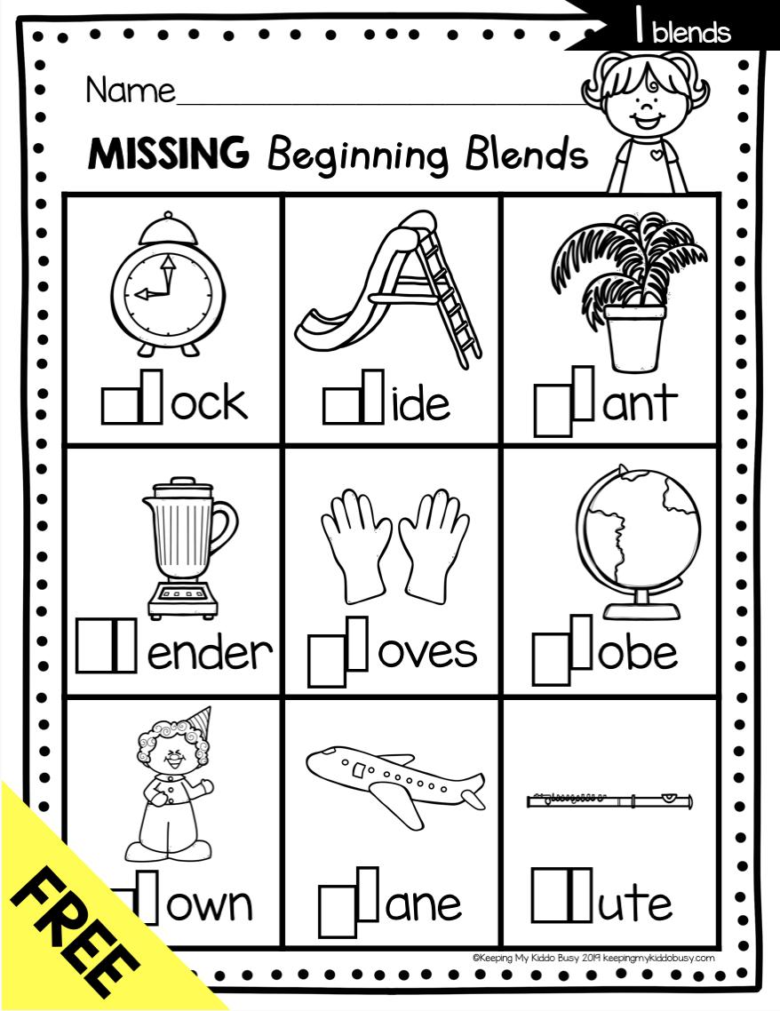 Free consonant blends phonics kindergarten worksheet