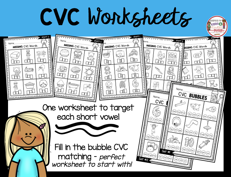CVC worksheets free matching short vowel words