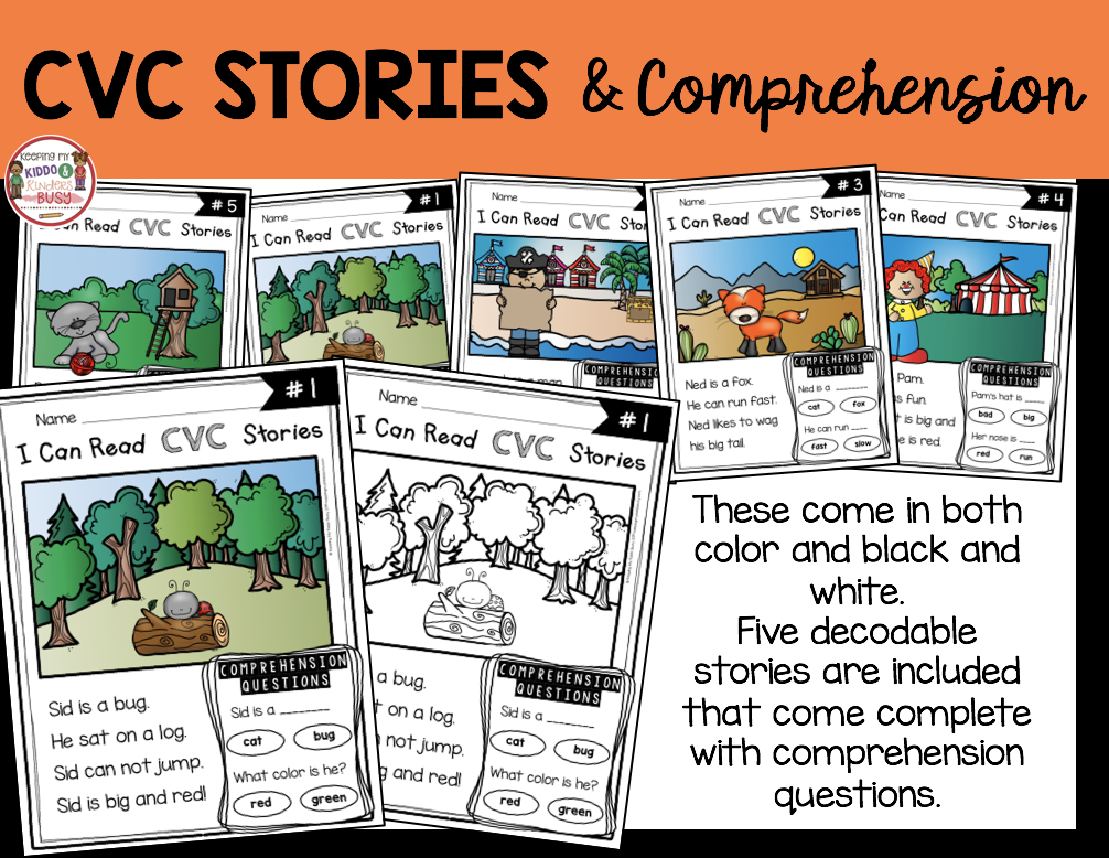 CVC stories and comprehension questions