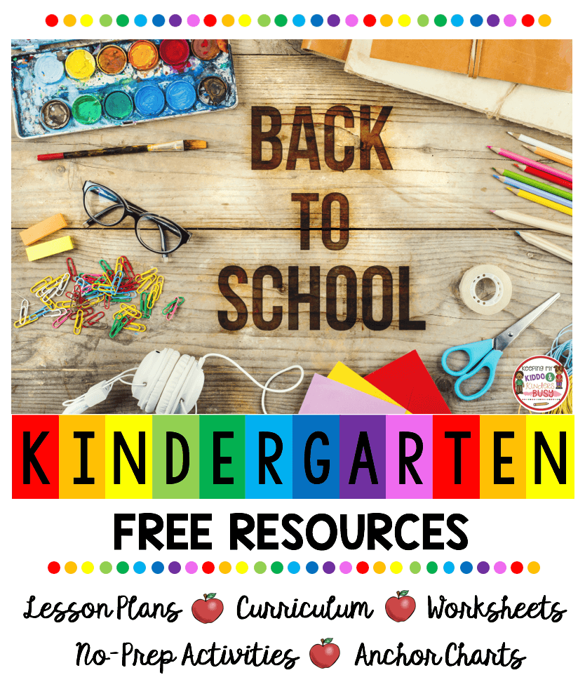 back to school in kindergarten free resources and lesson plans