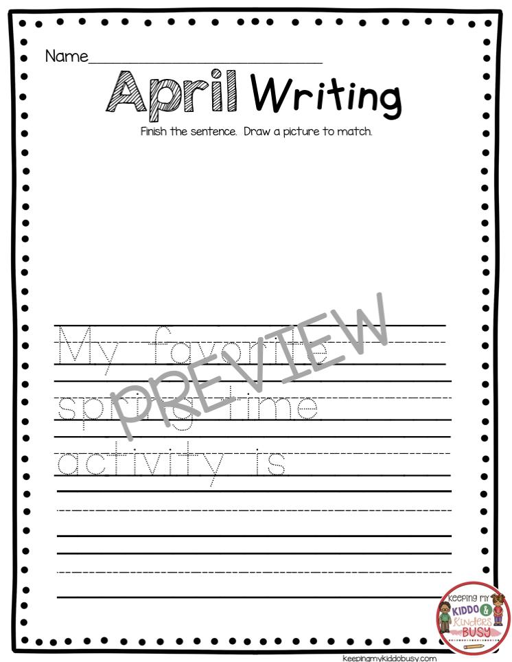 April writing prompt for kindergarten