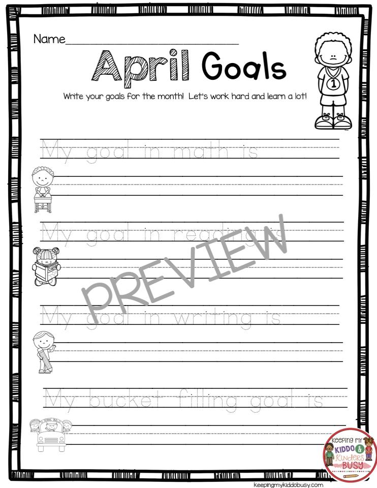 april goal setting for kindergarten bucket filling