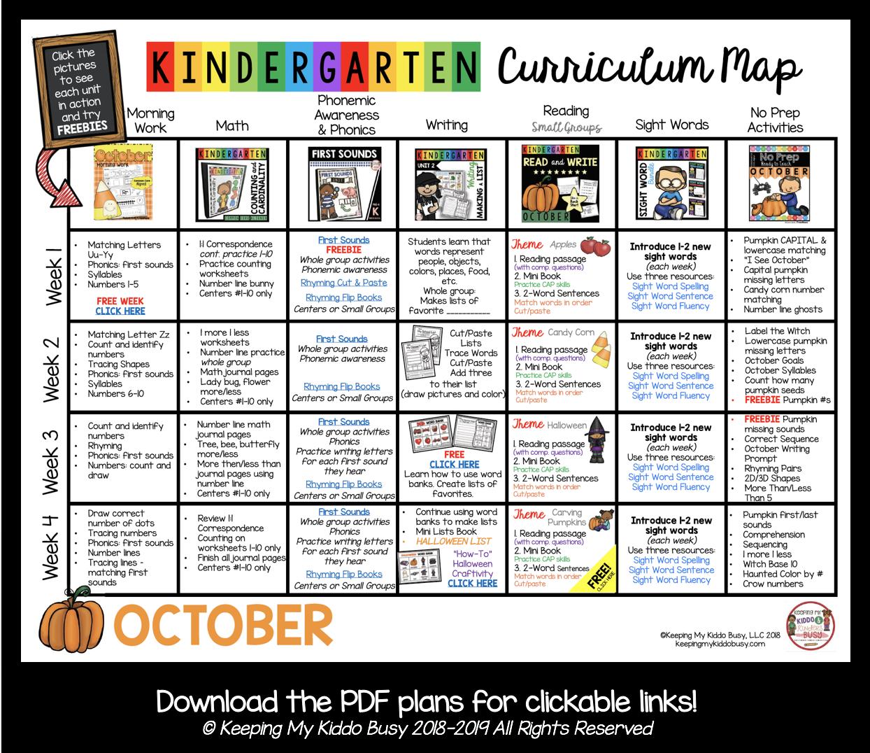free October lesson plans in kindergarten