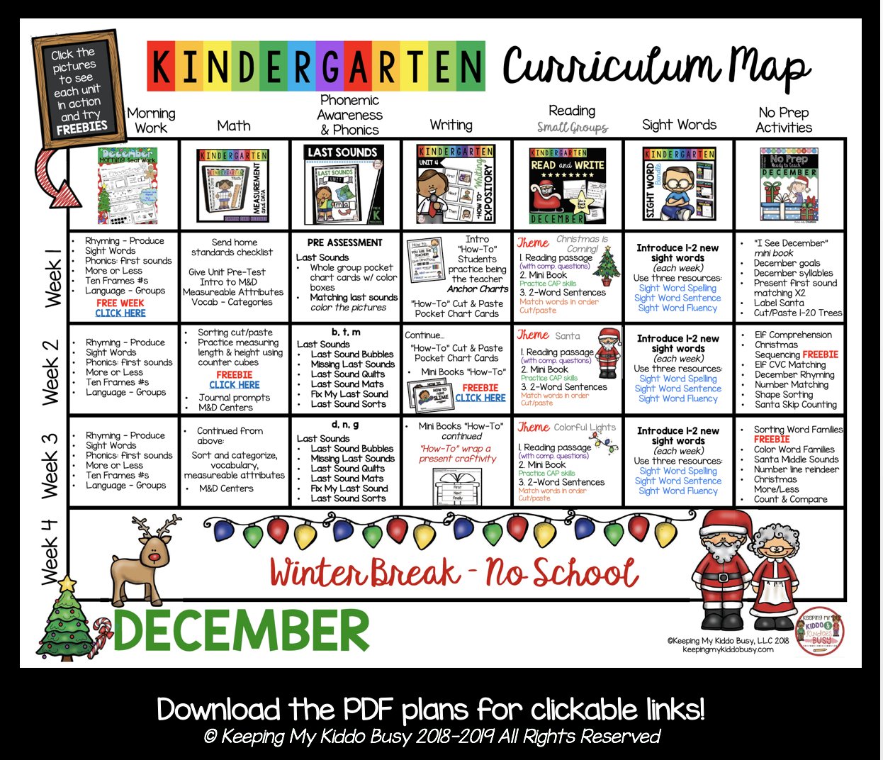 free December lesson plans for kindergarten