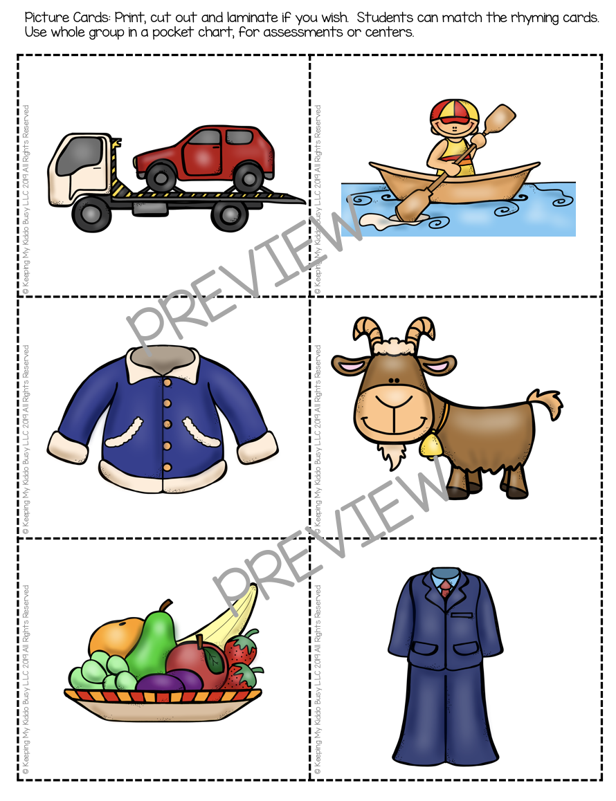 kindergarten rhyming pocket chart printable cards