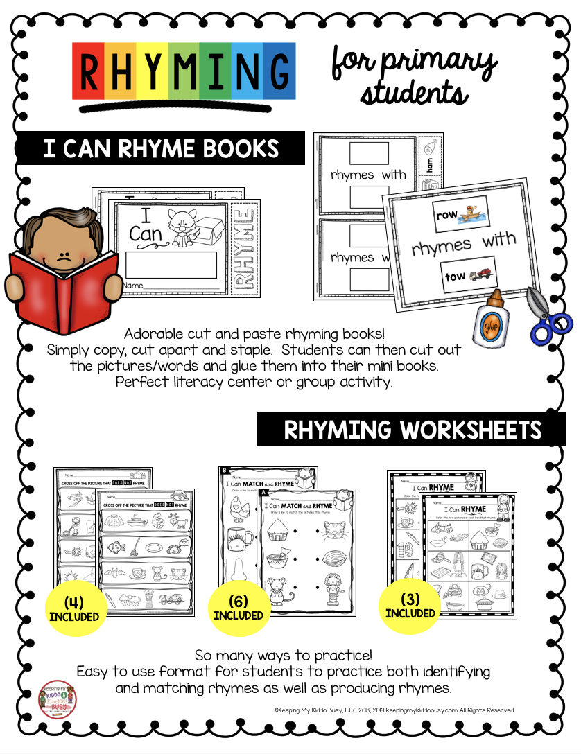 free kindergarten rhyming activities