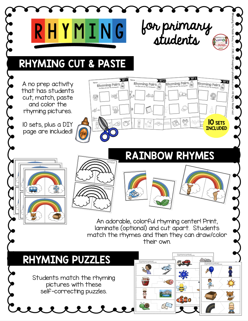 free rhyming centers for kindergarten back to school