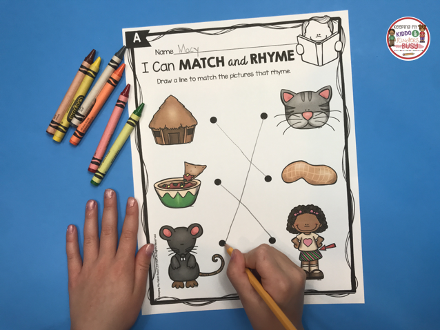 free matching rhyming words preschool kindergarten prep-k