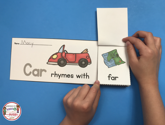 rhyming flip book free printable literacy center