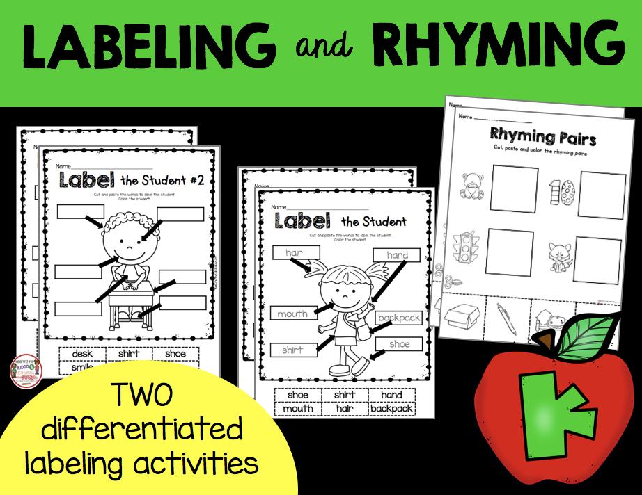 labeling and rhyming worksheets free kindergarten