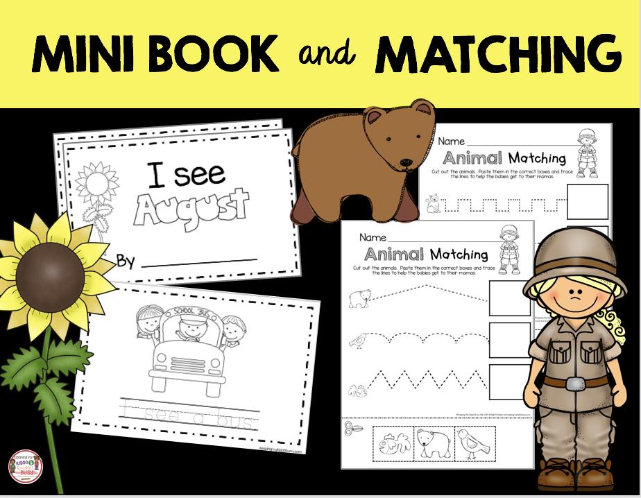 animal matching kindergarten mini book