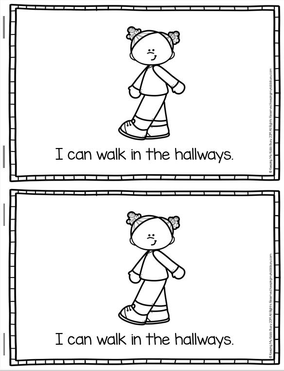 walking in the hallways mini book school rules classroom kindergarten
