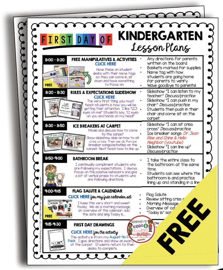 free kindergarten lesson plans for august