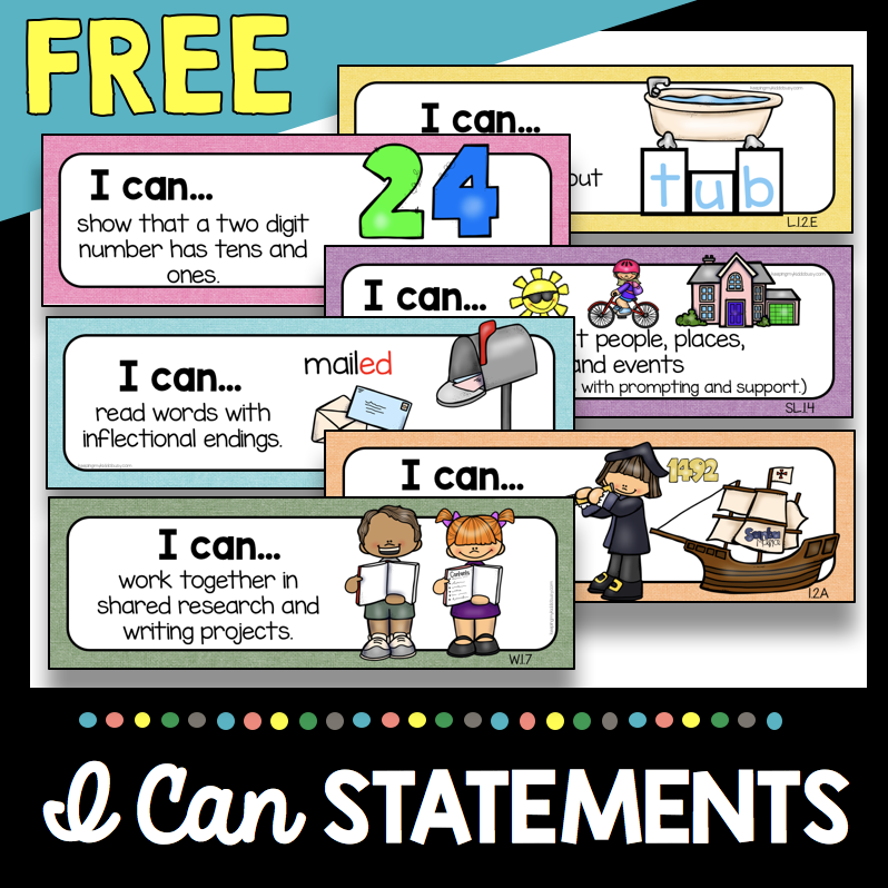 I Can statements first grade standards and objectives