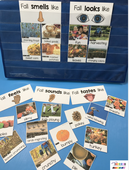 five senses for fall sorting activity for centers