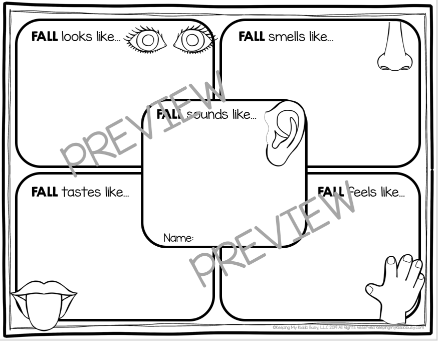 fall graphic organizer for kindergarten and first grade