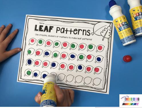leaf patterns with daubers color leaf pattern