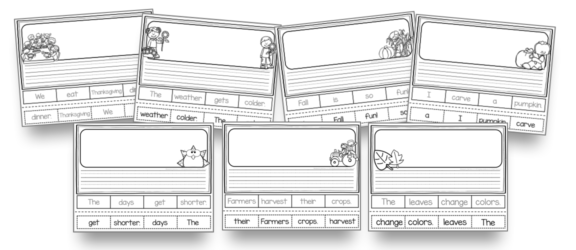 cut and paste sentences for kindergarten and first grade