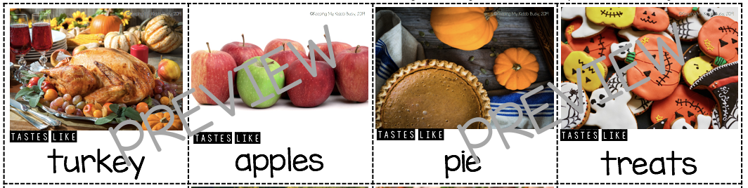 thanksgiving printable food cards picture cards kindergarten first grade