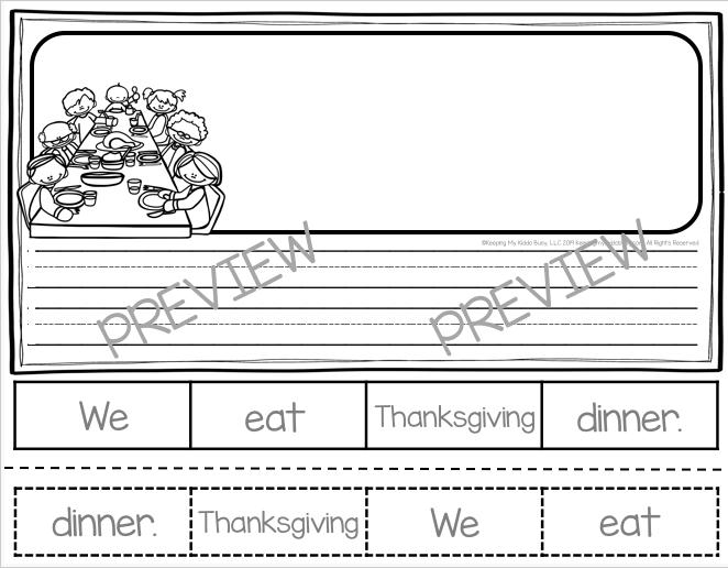 thanksgiving writing kindergarten or first grade