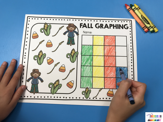 fall graphing color and graph scarecrow candy corn pumpkins